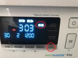 il faut tlcharger lapplication pour apple ou android et sur votre lave linge appuyer 3 secondes sur le bouton smart control afin de faire apparaitre ap - Samsung Ww8ek6415sw Add Wash