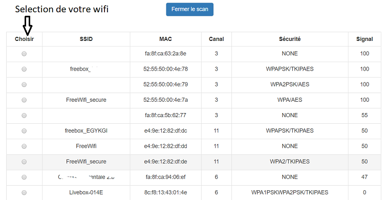 on choisi le ssid strong